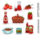 flat vector set of tomato food...   Shutterstock .eps vector #1097710940