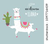 funny llama with cactus | Shutterstock .eps vector #1097716439