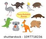 australian animals isolated on... | Shutterstock .eps vector #1097718236