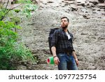 man traveler with backpack...   Shutterstock . vector #1097725754