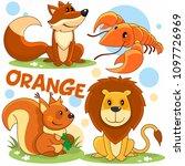 set of wild animals of orange... | Shutterstock .eps vector #1097726969
