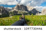 legs with hiking boots of hiker ... | Shutterstock . vector #1097730446