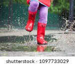 child's feet in rubber boots.... | Shutterstock . vector #1097733029