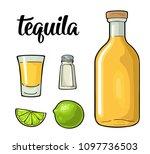 glass  bottle  salt and lime.... | Shutterstock .eps vector #1097736503