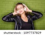 fashion portrait of beautiful... | Shutterstock . vector #1097737829