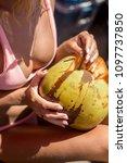 surfer girl in sexy bikini...   Shutterstock . vector #1097737850