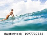 beautiful fit young surfer... | Shutterstock . vector #1097737853