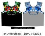 design t shirt with poppies ... | Shutterstock .eps vector #1097743016