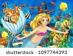 cartoon scene with mermaid...   Shutterstock . vector #1097744393