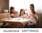 family spend time happiness... | Shutterstock . vector #1097744420