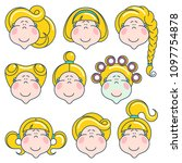 flat linear avatars set with... | Shutterstock .eps vector #1097754878