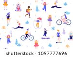 people in the park seamless... | Shutterstock .eps vector #1097777696