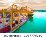 aerial view of harbor cargo... | Shutterstock . vector #1097779250