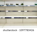 close up of empty snack shelf | Shutterstock . vector #1097783426
