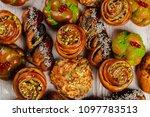 ruddy fresh beautiful buns on a ... | Shutterstock . vector #1097783513
