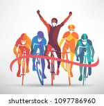 cycling race stylized... | Shutterstock .eps vector #1097786960