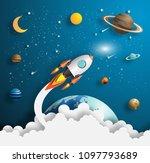 paper art style of rocket... | Shutterstock .eps vector #1097793689