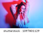 fashion portrait of young... | Shutterstock . vector #1097801129
