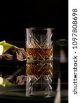 whiskey with chocolate and... | Shutterstock . vector #1097808698
