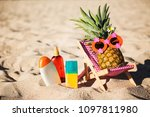 ripe attractive girl pineapple... | Shutterstock . vector #1097811980