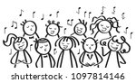 choir  funny men and women... | Shutterstock .eps vector #1097814146