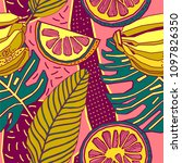 seamless hand drawn tropical... | Shutterstock .eps vector #1097826350