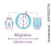 migraine concept icon. headache....   Shutterstock .eps vector #1097832776