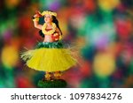 hula dance girl doll wearing... | Shutterstock . vector #1097834276
