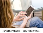 close up white smartphone...   Shutterstock . vector #1097835953