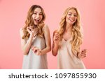 two cheerful pretty women in... | Shutterstock . vector #1097855930