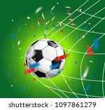 soccer ball with confetti.... | Shutterstock .eps vector #1097861279