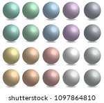 set of colorful 3d sphere ball... | Shutterstock .eps vector #1097864810