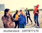 group of teenage friends...   Shutterstock . vector #1097877170