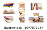 collection of old books ... | Shutterstock . vector #1097878259