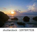 beautiful tropical sunset on... | Shutterstock . vector #1097897528