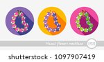 hawaii flowers necklace  wreath ... | Shutterstock .eps vector #1097907419