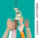 hands trying to get dollar on... | Shutterstock .eps vector #1097910800
