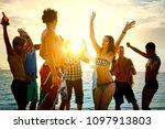 friends enjoying a vacation at... | Shutterstock . vector #1097913803