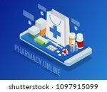 isometric pharmacy online... | Shutterstock .eps vector #1097915099
