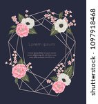 rose gold polygonal frame with... | Shutterstock .eps vector #1097918468