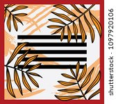 scarf design with leaves and... | Shutterstock .eps vector #1097920106
