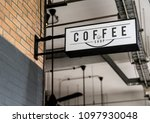 white signage on the wall mockup | Shutterstock . vector #1097930048
