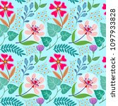 seamless pattern flowers and... | Shutterstock .eps vector #1097933828