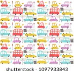 seamless pattern with cars and... | Shutterstock .eps vector #1097933843