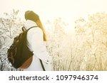 handsome traveling woman... | Shutterstock . vector #1097946374