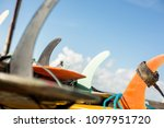 lot of single fin surfing... | Shutterstock . vector #1097951720