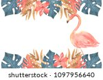 hand drawn watercolor tropical... | Shutterstock . vector #1097956640