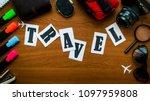 travel word letters inscription ... | Shutterstock . vector #1097959808