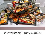 cheese plate with onions and... | Shutterstock . vector #1097960600