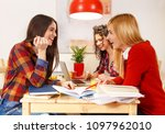 group of female students study... | Shutterstock . vector #1097962010